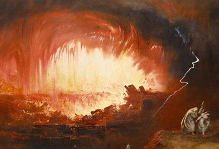 Fire and sulfur rain down on Sodom and Gomorrah